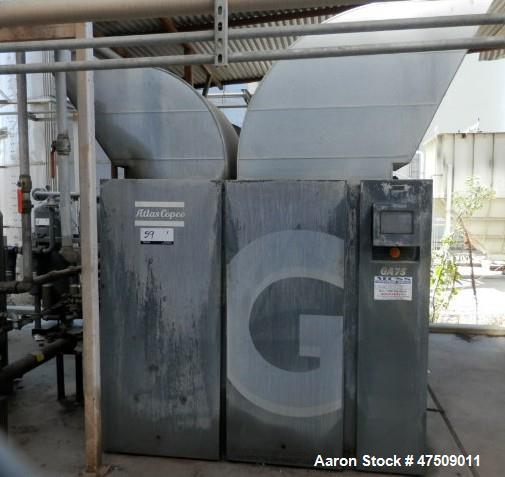 Used-Atlas Copco Air Compressor.  100 HP.  414 cfm, 9.1 bar, 131 psi.  w/receiver, pump & motor.  yr. 2007.