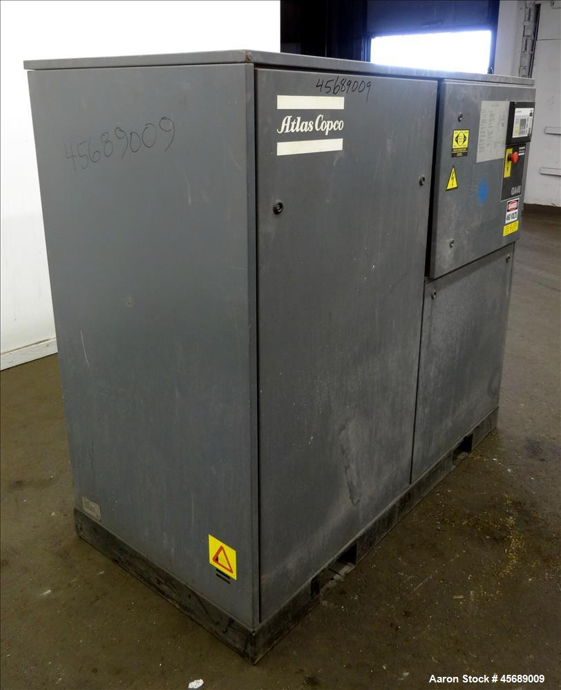 Used- Atlas Copco Rotary Screw Air Compressor, Model GA45. Air cooled, rated 294 cfm at 107 psi. Driven by a 60 hp, 3/60/230...