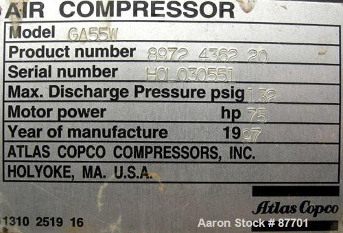 USED: Atlas Copco Stationary Rotary Screw Compressor, model GA55W. Rated max 132 psi, water cooled. Capacity approximately 3...