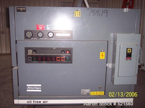 USED: Atlas Copco oil free rotary screw air compressor, model ZR-237.Water cooled, normal working pressure of 7 bar (100 psi...
