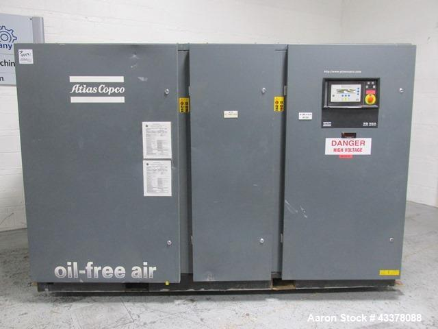 Used- Atlas Copco Water Cooled Oil Free Rotary Screw Compressor, Model ZR250. Rated 1100 CFM, 125 psi. Driven by a 300hp, 46...