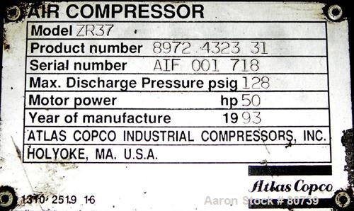 USED- Atlas Copco Two Stage Oil Free Rotary Screw Compressor, Model ZR37. Water cooled. Rated approximately 181 cfm at 128 p...