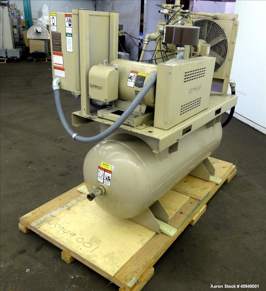 Used- Curtis Rotary Screw Air Compressor, 120 Gallon, Model RS25A A-E B101. Rated 104 CFM at 125 psi. Driven by a 25hp,  3/6...