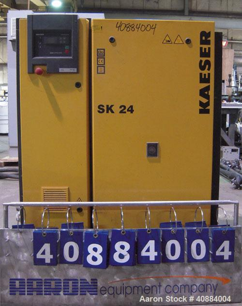 Used- Kaeser Stationary Rotary Screw Compressor, Model SK 24, Air Cooled. Capacity approximately 50 cfm at 188 psi. Driven b...