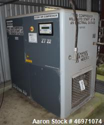 Used- Atlas Copco Oil Free Rotary Screw Compressor, Model ZT 22. Air cooled, 117.2 CFM at 124 psi. Driven by a 30hp motor. I...