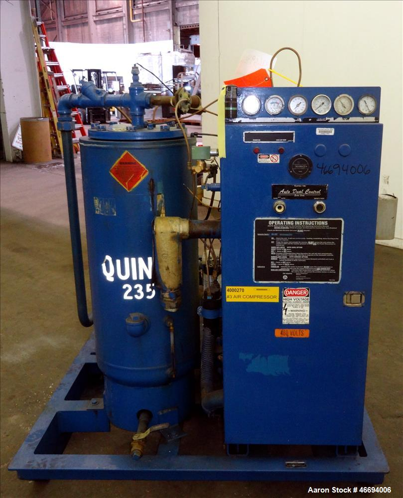 Used- Quincy Helical Screw Air Compressor, Model Q235WNW1, Water Cooled. Capacity 234 CFM at 125 psi. Driven by a 50hp, 3/60...