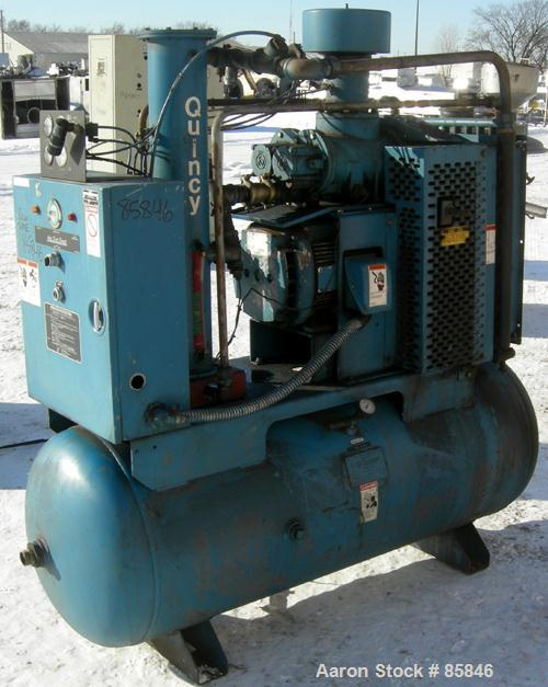 USED: Quincy rotary screw tank mounted air compressor, model QST HANA31K. Approx 176 acfm at 100 psig. Air cooled. Air/oil r...