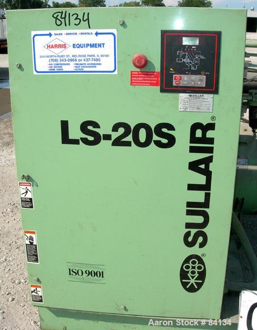 USED: Sullair single stage rotary screw air compressor, model LS20S-150LWCWC, water cooled. Rated 730 cfm at 100 psig. Drive...
