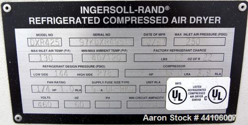 Used- Ingersoll-Rand Refrigeration Air Dryer, model DXR425. Nominal air-flow 425 cfm, maximum pressure 250 psi. Type R22 ref...