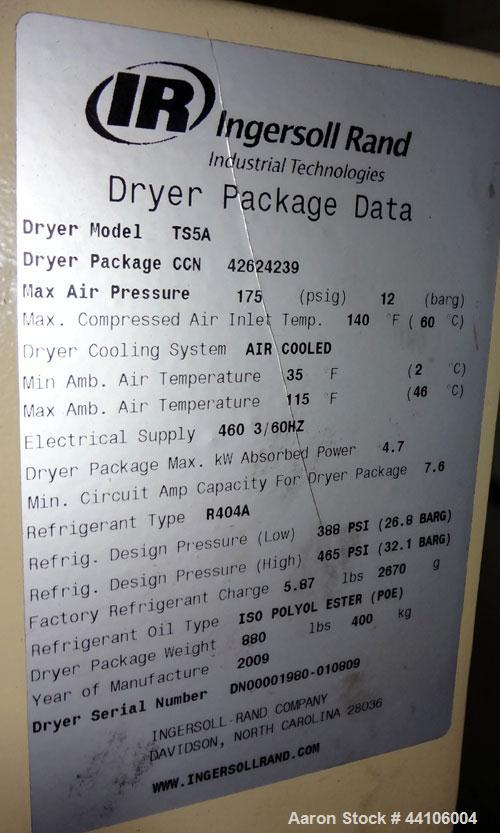 Used- Ingersoll- Rand Refrigerated Air Dryer, Model TS5A. Nominal air-flow 826 cfm, maximum pressure 175 psi. Type R404A ref...