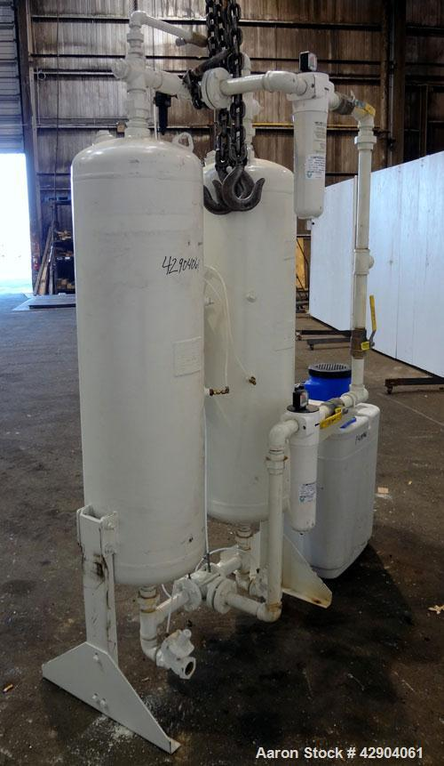 Used- Van Air Systems Heatless Regenerative Desiccant Air Dryer, Model HL375-142. System is rated for 375 cfm at minimum 60 ...