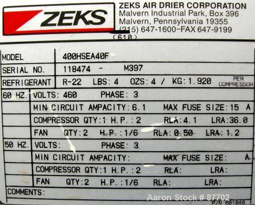 USED: Zeks heatsink refrigerated air dryer, model 400HSEA40F. Rated 400 scfm at 38 deg F, max working 300 psig. 4 pound char...