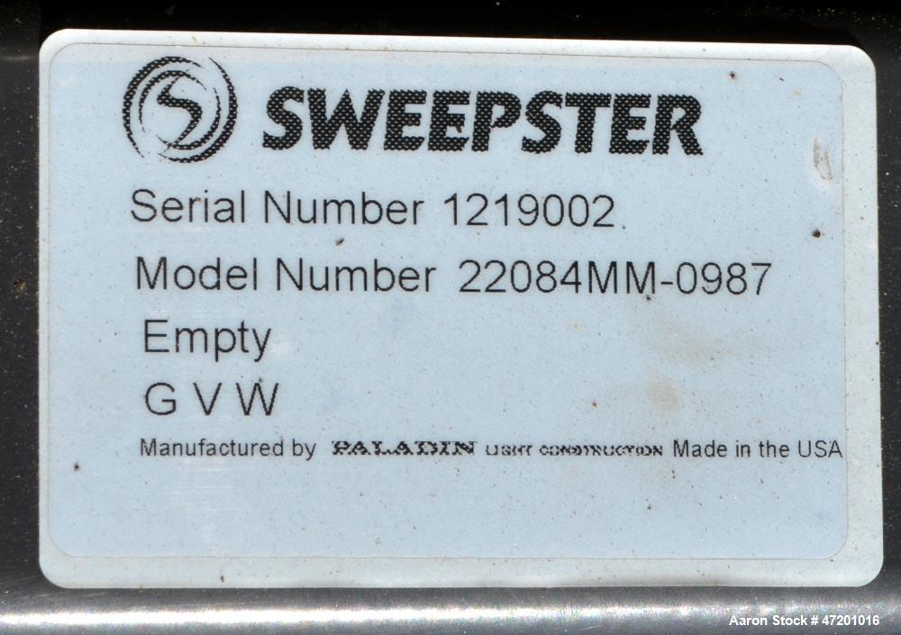 "Used- Sweepster Sweeper Attachment, Model 22084MM-0987. Approxmate 84"" long brush. Serial# 1219002."