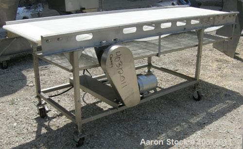 "Used- Belt Conveyor, 29"" wide x 102"" long plastic belt. Driven by a 1/2 hp, 3/60/230/460 volt, 1725 rpm motor with an Allen ..."