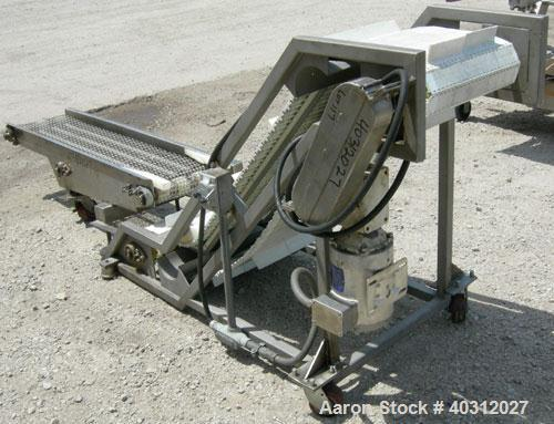 """Used-  Inclined """"S"""" shaped conveyor, 304 stainless steel frame. 16"""" wide cleated plastic belt, 12"""" long bottom infeed sectio..."""