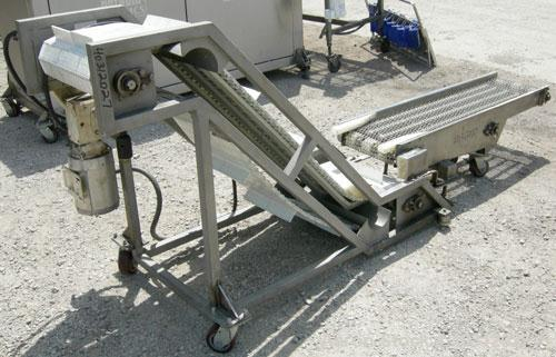 "Used-  Inclined ""S"" shaped conveyor, 304 stainless steel frame. 16"" wide cleated plastic belt, 12"" long bottom infeed sectio..."