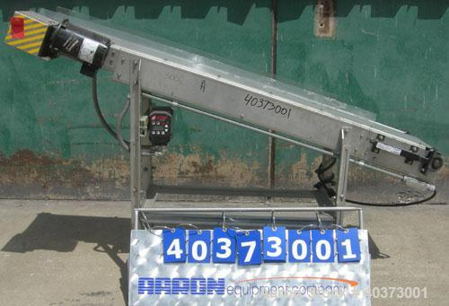 """Used- Sager Incline Belt Conveyor.12"""" wide x approximately 80"""" long belt. Driven by a 1/2 hp, 3/60/230/460 volt, 1730 rpm ..."""