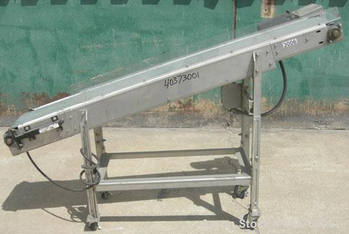 "Used- Sager Incline Belt Conveyor. 12"" wide x approximately 80"" long belt.  Driven by a 1/2 hp, 3/60/230/460 volt, 1730 rpm ..."
