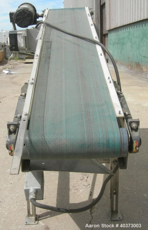 "Used- Sager Incline Belt Conveyor.  12"" wide x approximately 80"" long belt.  Driven by a 1 hp, 3/60/230/460 volt, 1725 rpm m..."