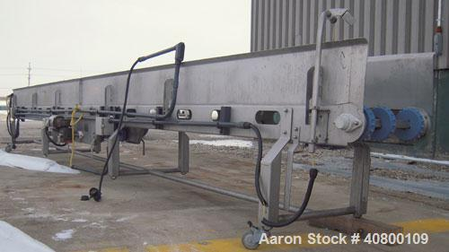 "Used- Heat and Control Deoiler Belt Conveyor, Model CV-BT-PL, 304 stainless steel. 18"" wide x 280"" long belt, driven by a 1/..."