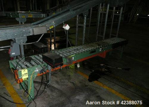 "Used-Ermanco Power Roller Conveyor Section 10'L X 12""W With (2) Little David Microjet-Ii Coders"