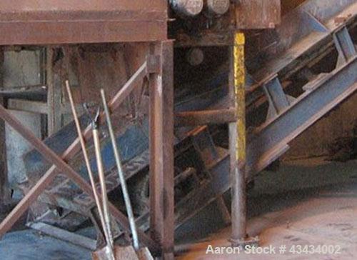"Used-Inclined Belt Conveyor, 36"" wide x 31' 6"" long.  5 hp motor."