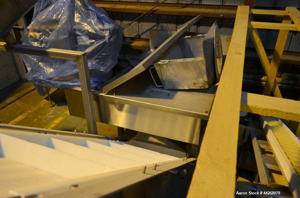 """Used-Inclined Belt Conveyor.  Belt;  24"""" wide x 13 long incline section, 48"""" bottom section, 36"""" top section.  112"""" discharg..."""