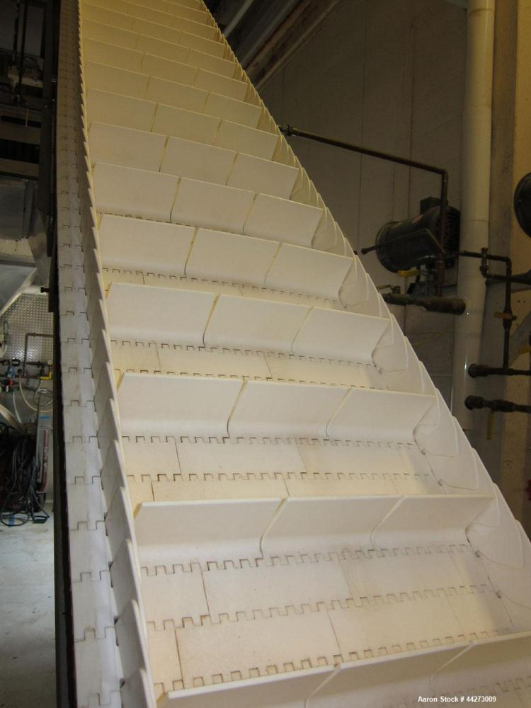 Used-17'' Wide x Approximate 13 ft High Inclined Plastic Interlocking Cleated Stainless Steel Conveyor