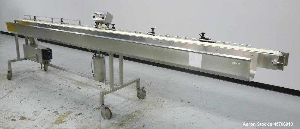"Used- Takeaway Conveyor. Approximate 5"" wide x 176"" long rubber belt, driven by a hp gear motor with a Penta drive. Includes..."