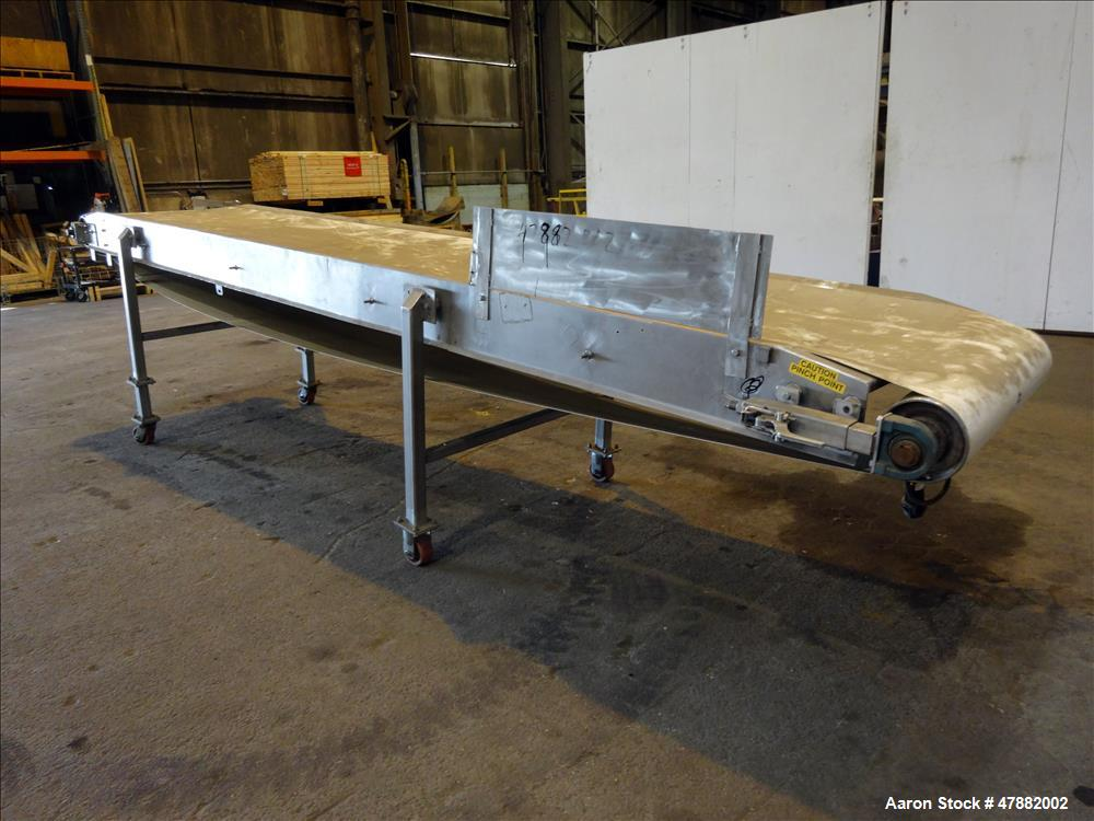 """Used- Incline 304 stainless steel conveyor, approximate 180"""" long x 30"""" wide,"""