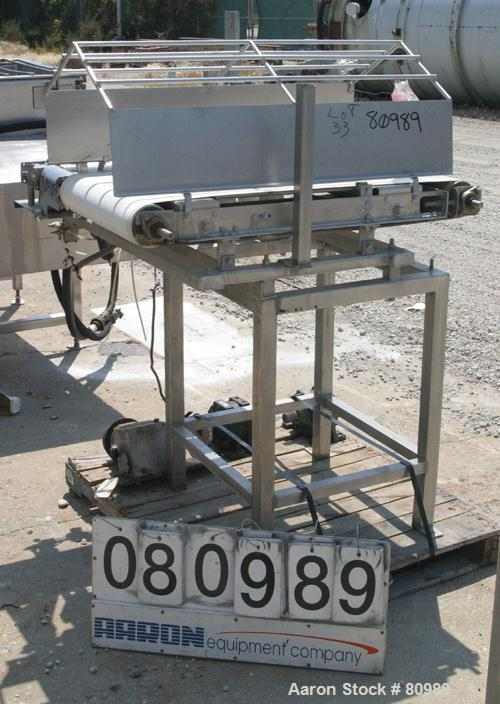 """USED: Belt conveyor, stainless steel frame and sides. 20"""" wide x 39"""" long rubber belt. Driven by an approximate 1/3 hp gearm..."""