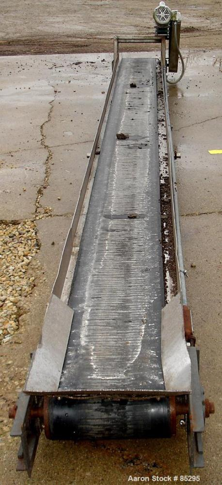 """USED: Belt conveyor, 304 stainless steel frame. Rubber belt 15"""" widex 20' long. Driven by a 1 hp, 1/60/115/230 volt, 1725 rp..."""