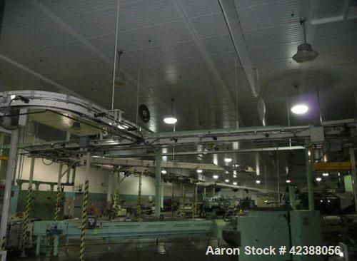 Used-Arrowhead Case Conveyor Approx. 200'L  Ceiling Hung & Pole Mounted