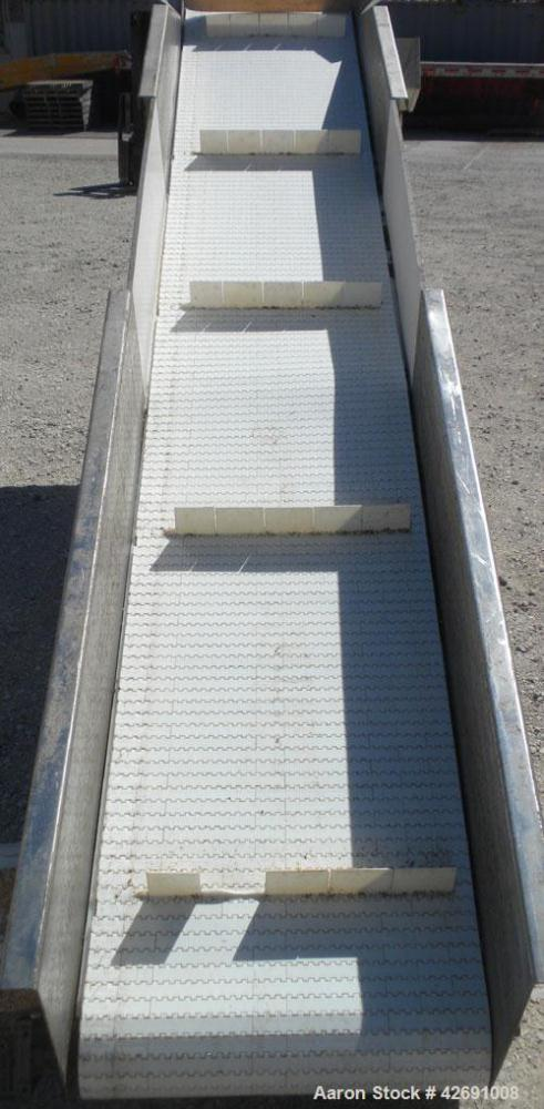 "Used- Bunting Magnetics Incline Belt Conveyor, Model GFC24-156. Plastic partial pleated belt 23-1/2"" wide x 148'' long. Plea..."