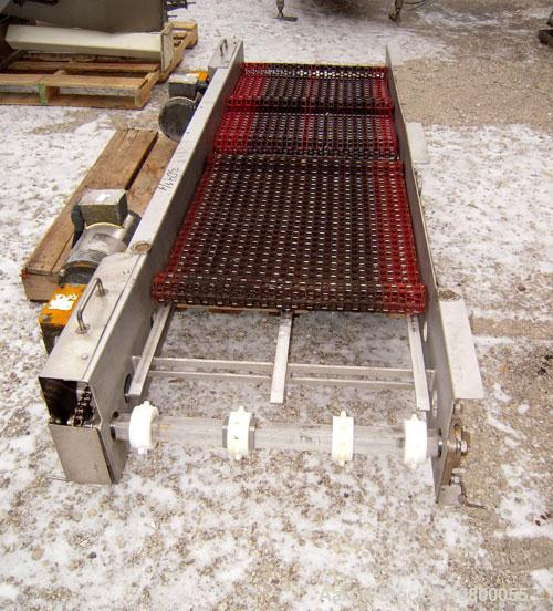 "Used-Heat And Control 2 Directional Belt Conveyor, Model DSFC. 24"" wide x 80"" long plastic belt. Includes (2) 1hp, 3/60/575 ..."