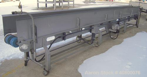 "Used- Heat and Control Deoiler Belt Conveyor, Model CV-BT-PL, 304 Stainless Steel. 18"" Wide x 260"" long belt, driven by a 3/..."