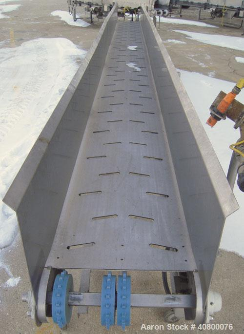"""Used- Heat and Control Deoiler Belt Conveyor, Model CV-BT-PL, 304 Stainless Steel. 18"""" Wide x 260"""" long belt, driven by a 3/..."""