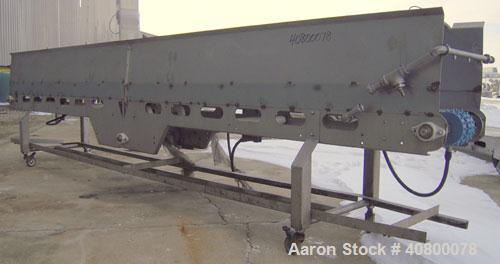 "Used- Heat And Control Deoiler Belt Conveyor, Model CV-BT-PL, 304 Stainless Steel. 18"" Wide x 186"" long belt. Driven by a 3/..."