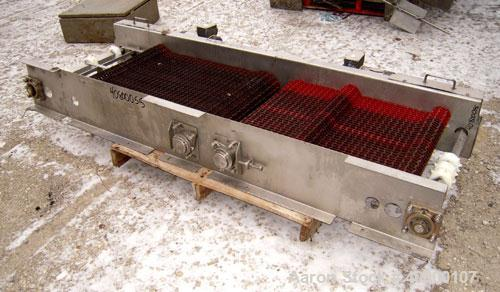 "Used- Heat & Control 2 Directional Belt Conveyor, Model DSFC. 24"" Wide x 80"" long plastic belt. Includes (2) 1 hp, 3/60/575 ..."