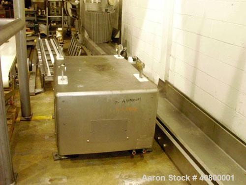 """Used- Vertical """"Z"""" Shaped Conveyor, 304 stainless steel frame. 16"""" wide plastic belt, 48"""" long horizontal bottom infeed sect..."""