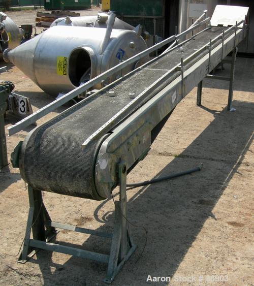 """USED: Hytrol belt conveyor, model C. Rubber belt 16"""" wide x 200"""" long. Driven by an approximate 1/2 hp gearmotor. Mounted on..."""