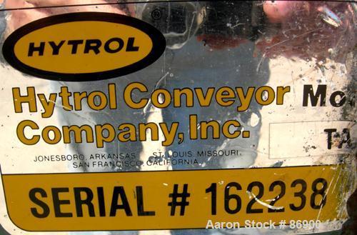 "USED: Hytrol belt conveyor, model TA. Cloth belt 6-1/2"" wide x 56"" long. Driven by a 1/3 hp, 3/60/208-230/460 volt, 1725 rpm..."