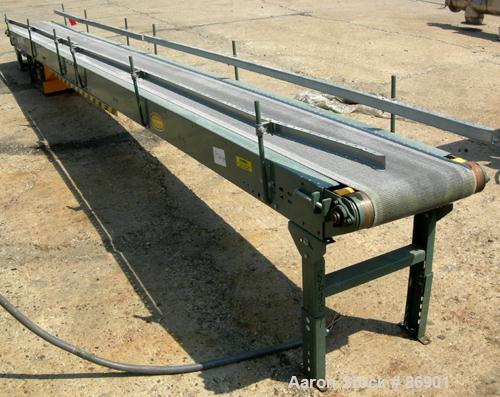 "USED: Hytrol belt conveyor, model TL. Cloth belt 15-1/2"" wide x 248"" long. Driven by a 1-1/2 hp, 3/60/208-230/460 volt, 1730..."