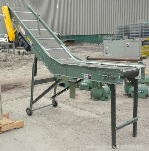 "Used- Hytrol Inclined Belt Conveyor, carbon steel. 18"" wide x 48"" long horizontal section x 72"" long inclined section. 12"" l..."
