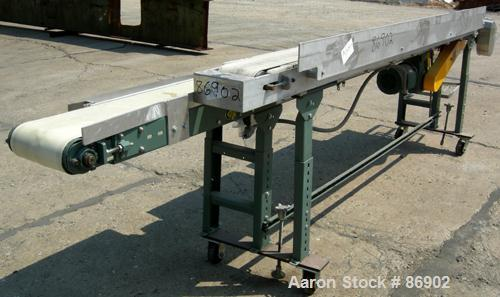 """USED: Hytrol dual lane belt conveyor, rubber belts. (1) 10"""" wide x 140"""" long, (1) 6"""" wide x 114"""" long, both driven by a 1/2 ..."""