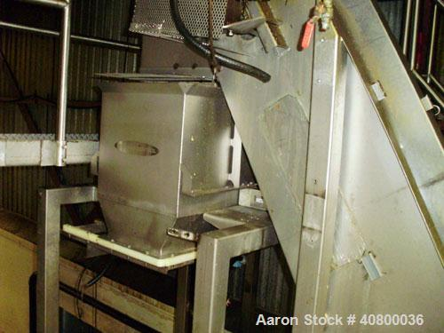 """Used- Inclined Plastic Belt Conveyor. 18"""" wide x 96"""" long with 9"""" wide x 3"""" tall off set pockets. 301 stainless steel supply..."""