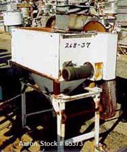 """Used- K-Tron 9"""" x 3' belt feeder with drive. Includes stainless steel hopper 37"""" diameter x 80"""" tall."""