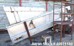 "Used- Belt Conveyor, Stainless Steel. Approximate 24"" wide x 144"" long stainless steel belt, driven by a 1hp, 3/60/208-230/4..."