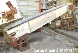 "Used- Griffin & Company Belt Conveyor, Stainless Steel. Approximate 23"" wide x 192"" long rubber belt, driven by a 3/4hp, 3/6..."