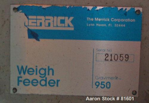 "USED: Merrick weighbelt feeder, model 950, 304 stainless steel. 12""wide x 40"" long belt. Driven by a 1/4 hp DC motor with re..."